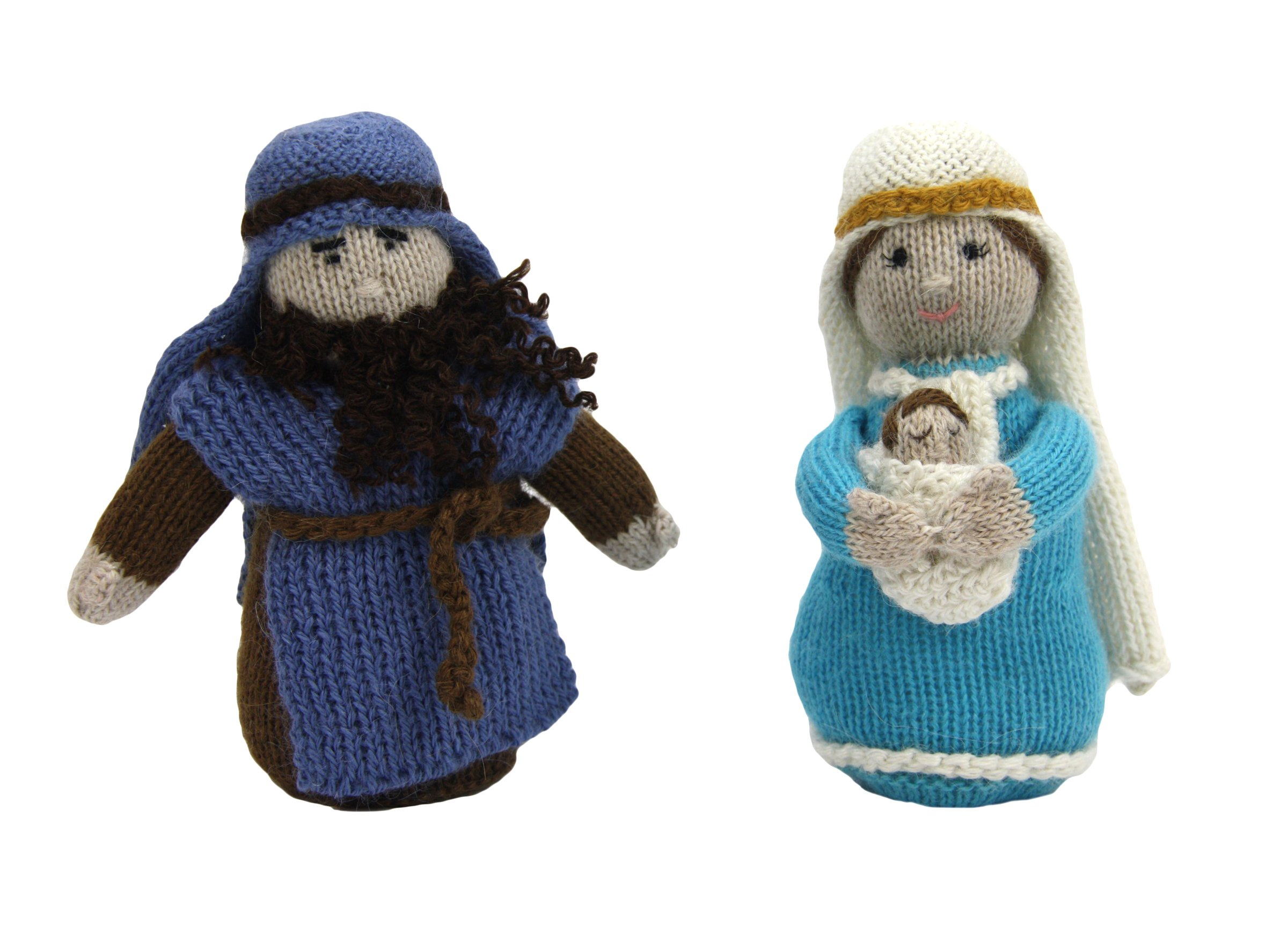 Fair Trade Hand Knit Soft Alpaca Holy Family Nativity Set with 3 Pieces From Peru, a Creche for All Ages
