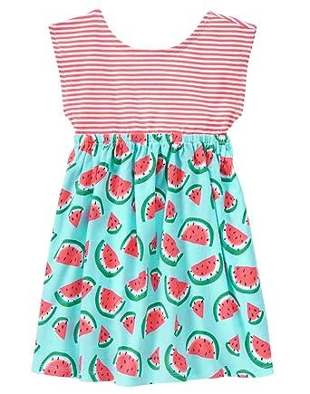 f35ddc89307e Gymboree Baby Toddler Girls' Stripe Watermelon Print Mix Dress, Multi, 6-12