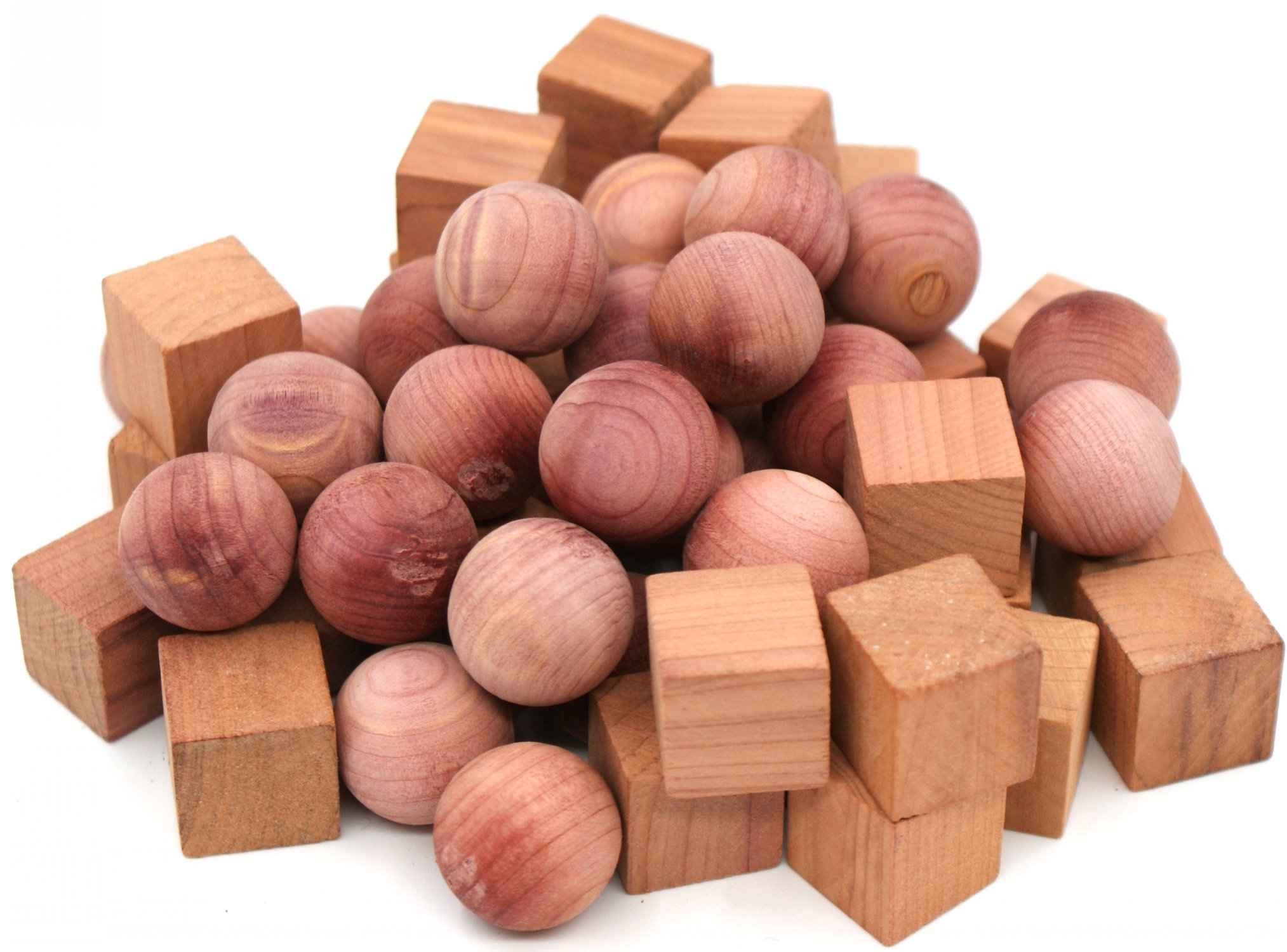 Wahdawn Moth Protection Cedar Balls - Aeromatic Red Cedar Wood Blocks Moths Away Closet Storage Shoes Freshener 50 Pieces