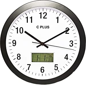 C PLUS Wall Clock Non Ticking Silent Battery Operated 12 Inch Quiet Sweep Quartz Movement Modern Home Decor with Temperature Date Time Week Large Numbers Easy to Read Round Room Thermometer, Black