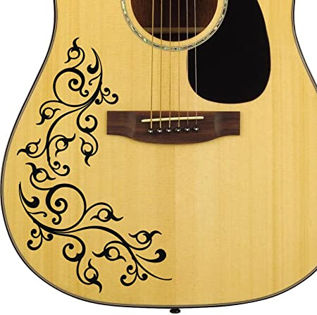 Pro Acoustic Floral Swirl Guitar Decal Sticker Pack Fits All Guitars