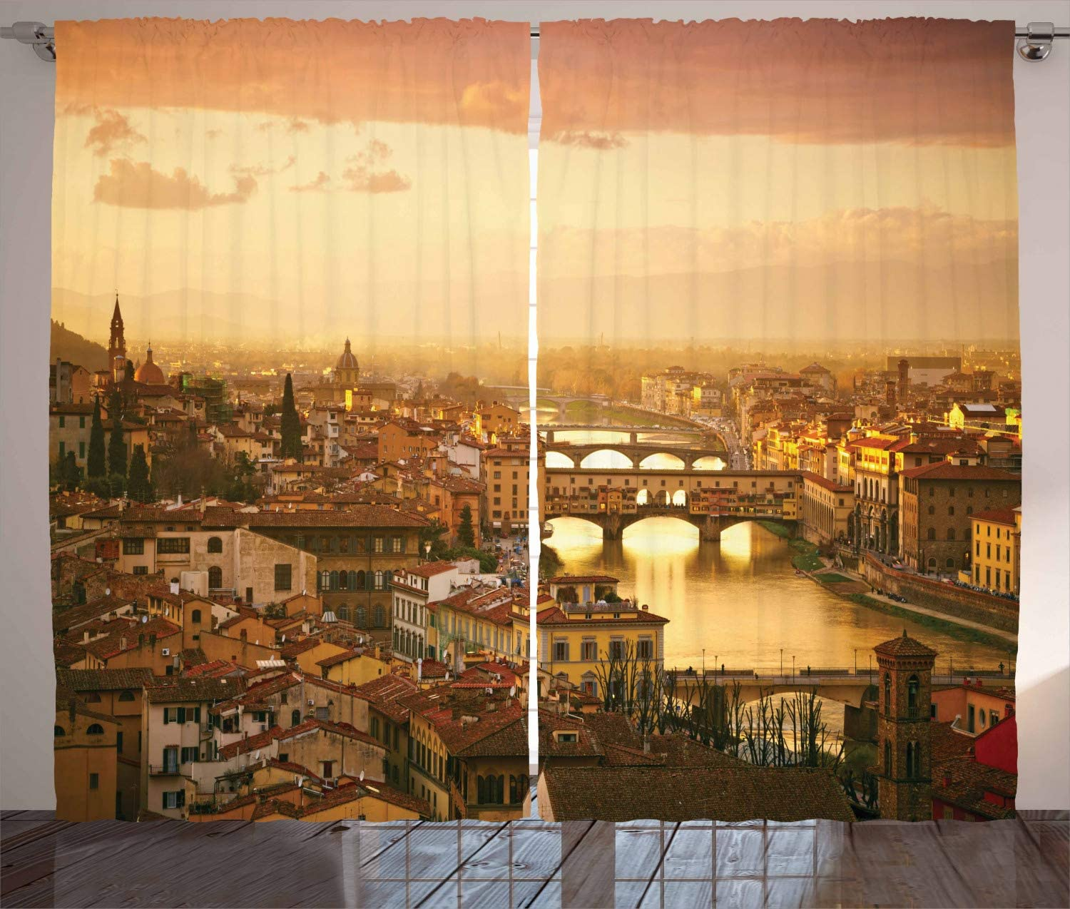Ambesonne Wanderlust Curtains, Bridge Ponte Vecchio Italy Bird Eye Sunset View Castle Houses Historic Cityscape, Living Room Bedroom Window Drapes 2 Panel Set, 108 X 90 Inches, Sand Brown