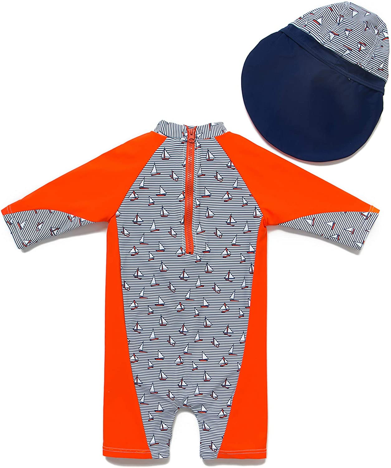 Grren,9-12Months Baby Boys Sunsuit UPF 50 Sun Protection All in One with Zipper Swimwear with Sun Hat