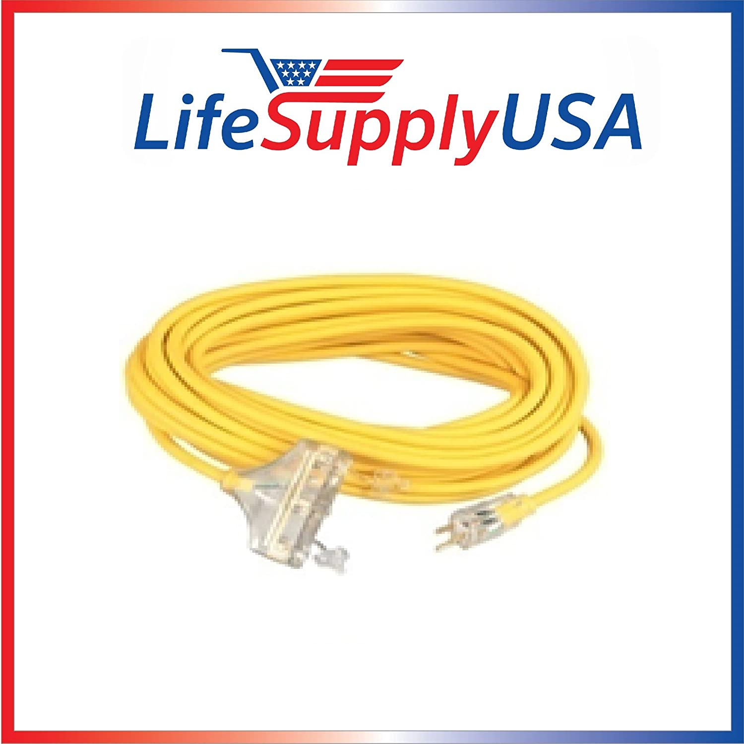 12/3 100ft Wire Gauge 3 OUTLET Tri-Source SJT Indoor Outdoor Vinyl LIGHTED Electric Extension Cord, 100 Feet