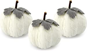 AuldHome Sweater Pumpkins (Set of 3, White); Fall Thanksgiving Table Topper Seasonal Decor for Centerpieces, Shelf Decor, Home and Office