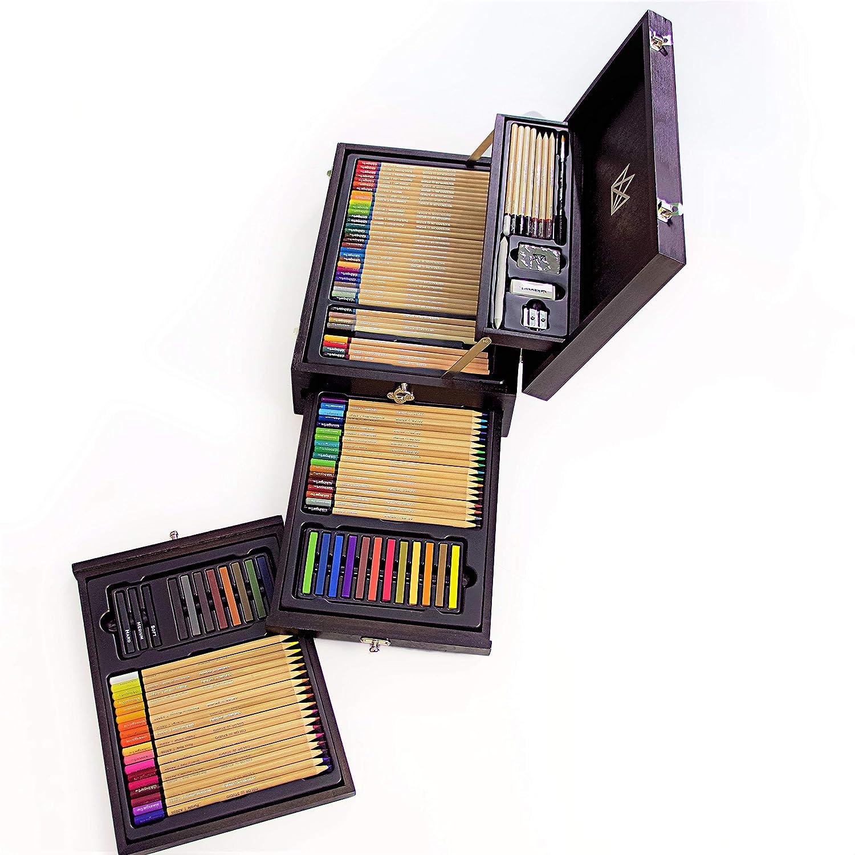 Set De Arte 110 Piezas Para Dibujo En Caja De Madera Premium