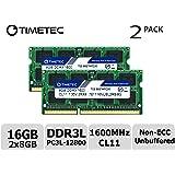 Timetec 76TT16NUSL1R8-4G 4GB DDR3 1600MHz PC3 12800 Non ECC Unbuffered 1.35V CL11 1Rx8 512x8 Single Rank 204 Pin SODIMM Laptop PC Computer Memory Ram Module Upgrade 4GB 16GB Kit (2*8GB)
