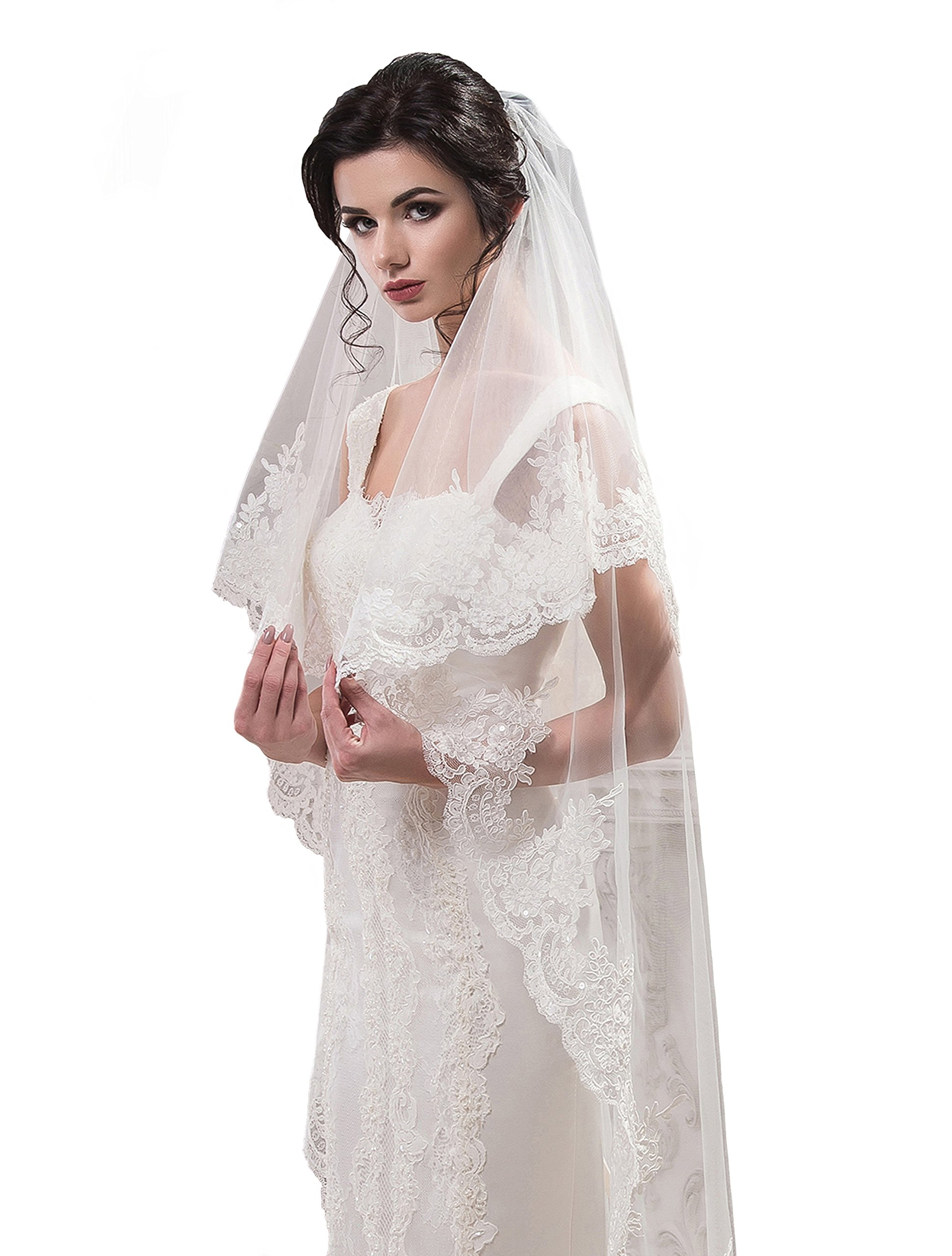 "Bridal Veil Carrie from NYC Bride collection (short 30"", ivory)"