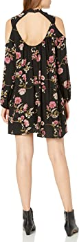 Angie Womens Embroidered Long Sleeve Cold Shoulder Open Back Dress