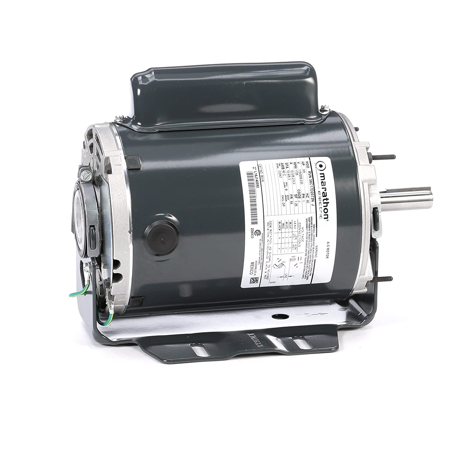 Marathon B318 Fan and Blower Motor, Single/Split Phase, Protection - None, 3/4 hp, 1725 rpm, 115/208-230V, 10.0/5.2-5.0 amp