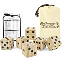 Gosports Giant Wooden Playing Dice Set for Jumbo Size Fun (Includes 6 Dice and Canvas Carrying Bag)