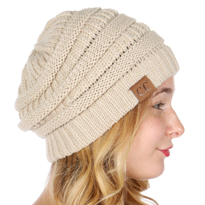 a68c18db2c6 SERENITA C.C Unisex Soft Stretch Thick Slouchy Knit Oversized Beanie Cap Hat
