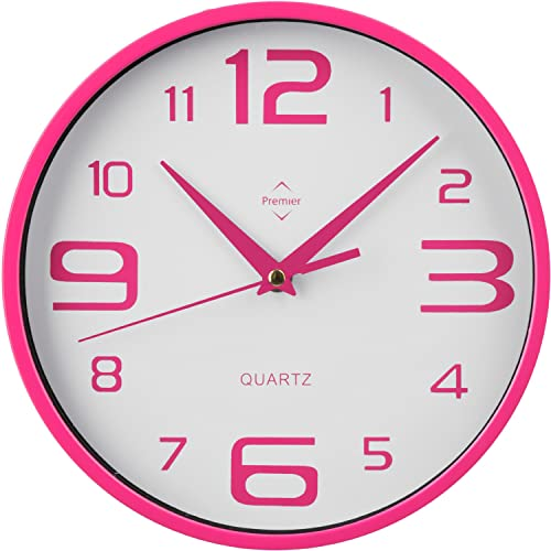 Premier Housewares Round Wall Clock Hot Pink