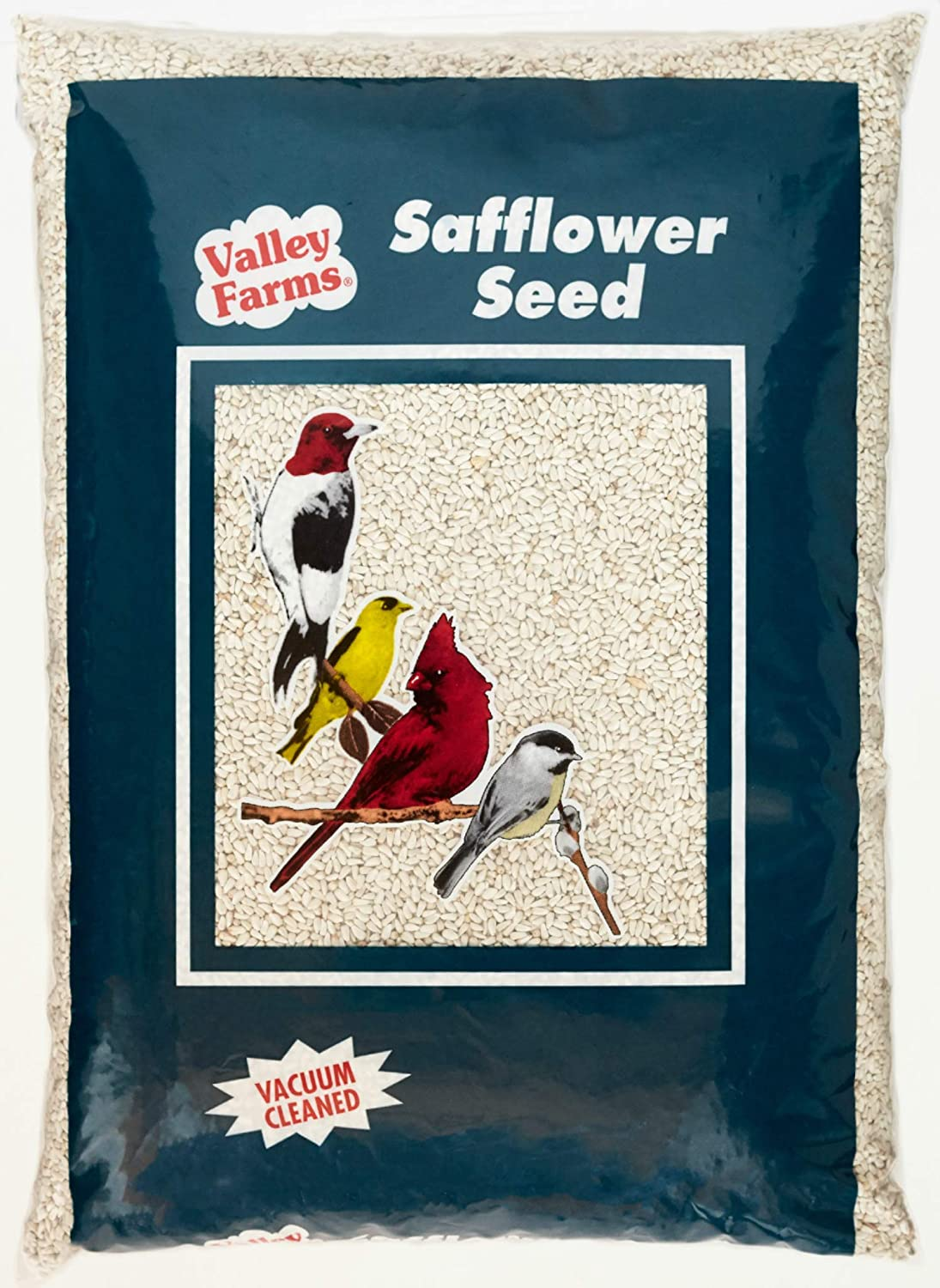 Valley Farms Safflower Seed Wild Bird Food - Attract Cardinals & Titmice! +Squirrels Do Not Like it (4 LBS)