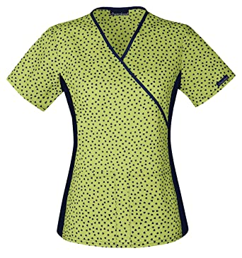 c2786ffc6ca Amazon.com: Cherokee Flexibles Women's Mock Wrap Heart Print Scrub Top  Small Print: Clothing