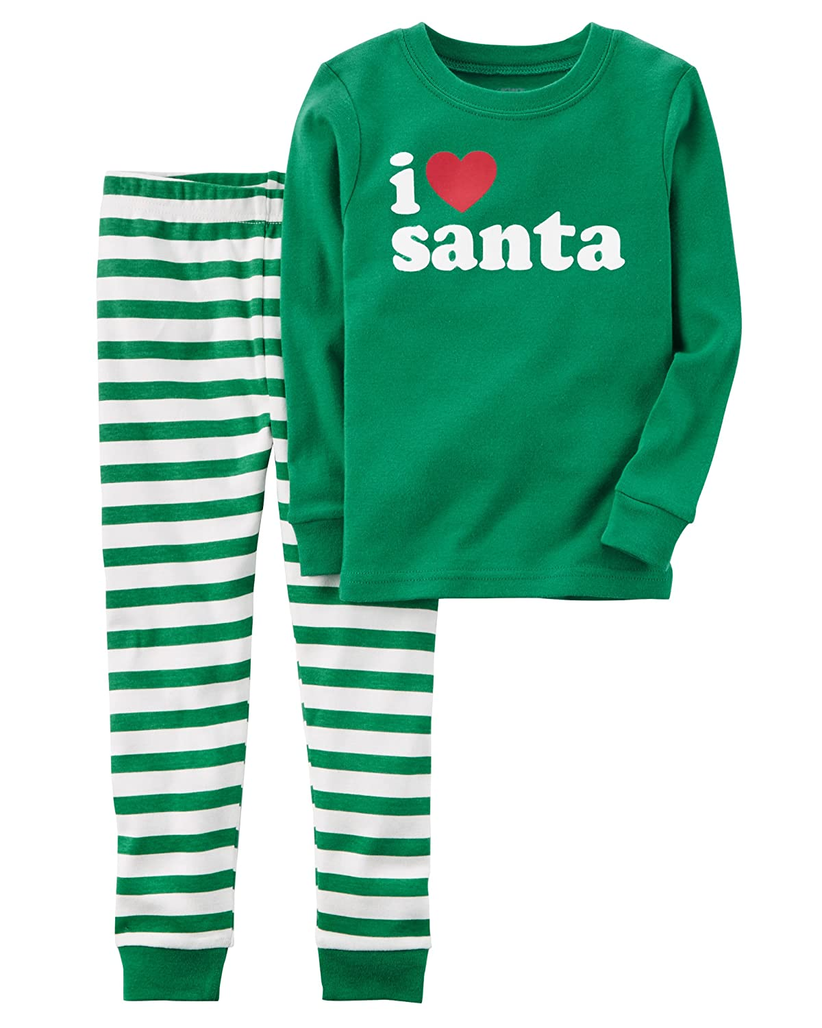 12 Months, Green Carters Baby Unisex Holiday Santa 2-Piece Santa Snug Fit Cotton PJs