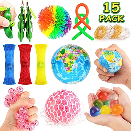 Sensory Toys Set- 15 Pack Stress Relief Hand Fidget Toys for Kids and Adults, Sensory Therapy Toys for ADHD Autism Stress Anxiety