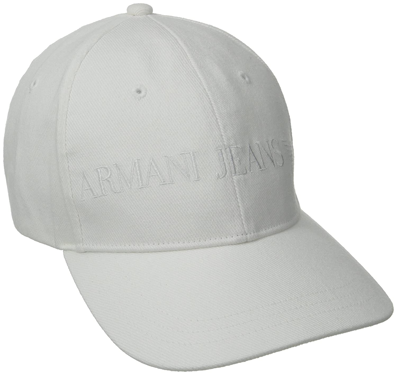 a4ce9bf5bd8f53 Amazon.com: Armani Jeans Men's Classic Baseball Logo Hat, White, Large:  Clothing