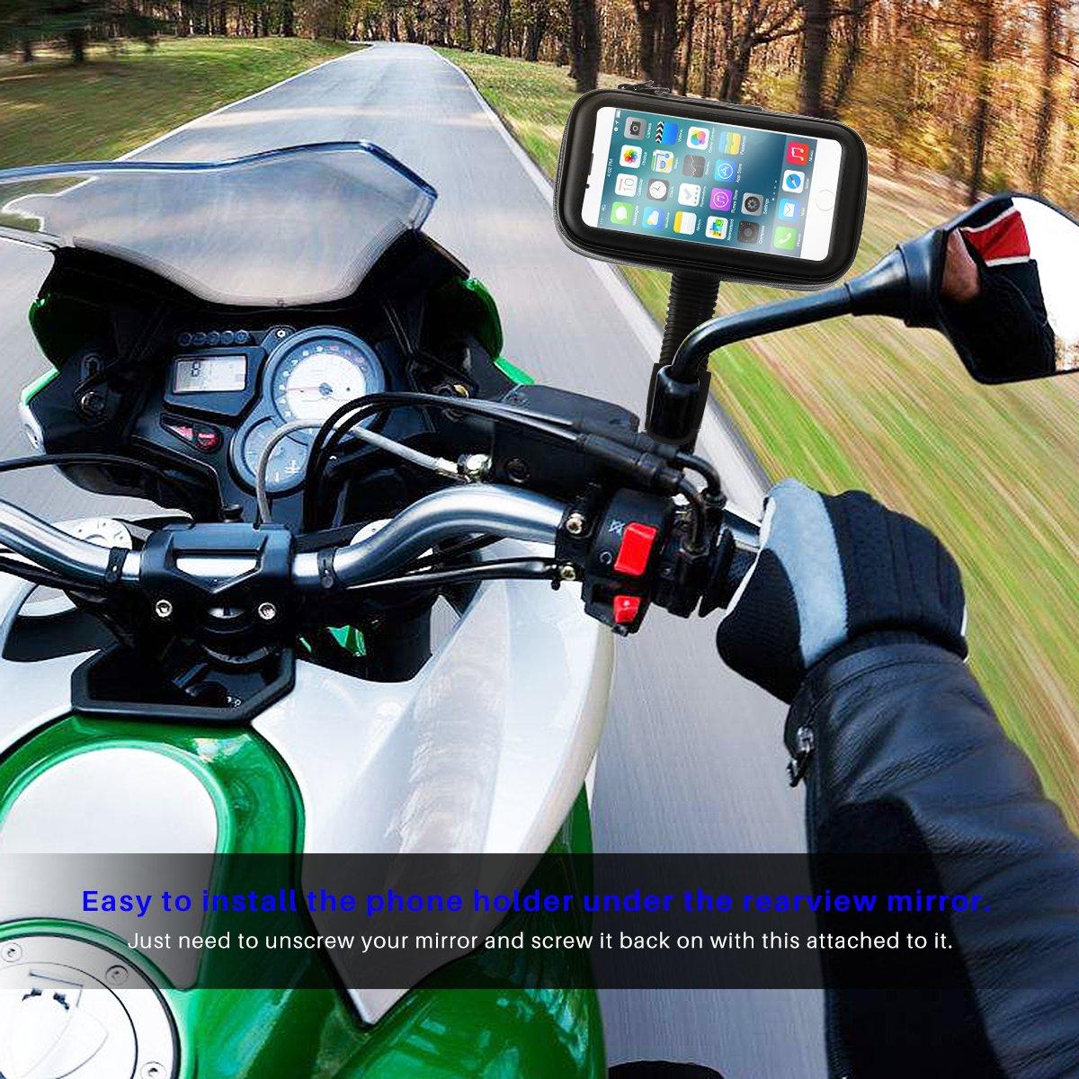 HITECHLIFE HITECHLIFE Motocicleta Soporte para tel/éfono m/óvil Bolsa Impermeable Ventana Transparente Operable Pantalla t/áctil
