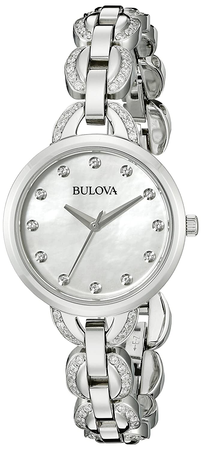 c59a966d29c82 Bulova 96L203 Women's Quartz Watch with White Mother of Pearl Dial and  Stainless Steel Strap