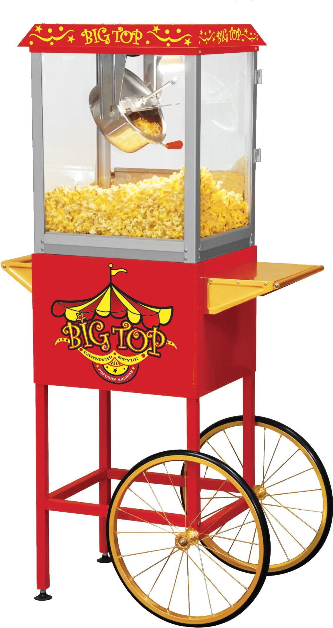Northern Trail BW860CR Big Top Carnival Style Electric Popcorn Machine with Cart and 8 oz Kettle, Red