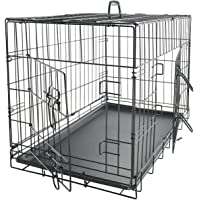 Double Doors Folding Dog Crate 24 30 36 42 48 Inches
