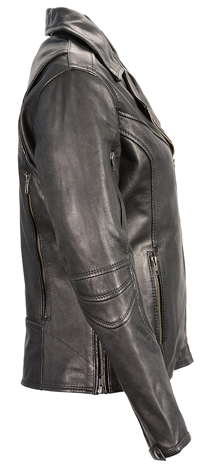 Black, Large Milwaukee Leather Womens Vented Motorcycle Jacket