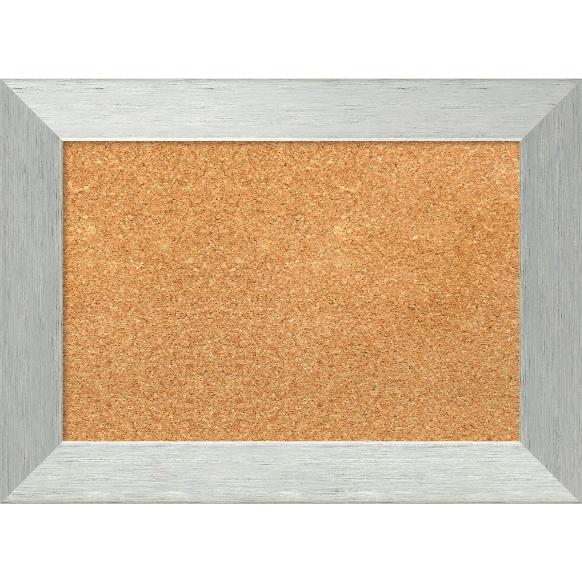 Amanti Art Small, Outer Size 22 x 16 Natural Cork Brushed Sterling Silver Framed Bulletin Boards, 18x12