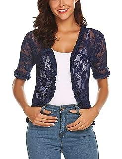 1130f278343f6 ELESOL Women Elegant Bolero Shrug Half Sleeve Lace Crochet Ruffle Open  Front Cardigan