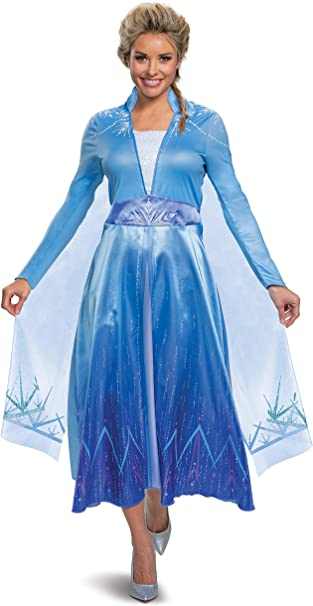 Disguise Deluxe Frozen 2 Womens Elsa Fancy Dress Costume X-Large ...