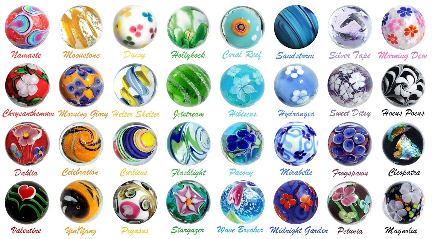 16mm Art Glass Marbles 2018 Collection of 32 Different Patterns w/Stands by OnlineScienceMall (Image #2)