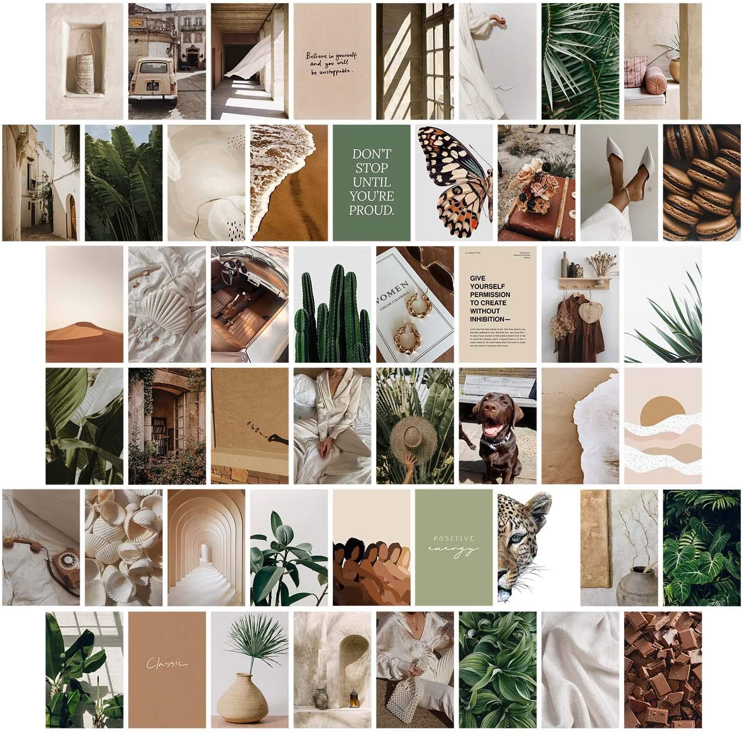 Haoran 50PCS Boho Wall Collage Kit Aesthetic Pictures, Photo Pictures Collage Kit for Wall Aesthetic, Cottagecore Indie Haus and Hues VSCO Posters Room Decor for Teen Girls Bedroom Aesthetic,4x6 Inch
