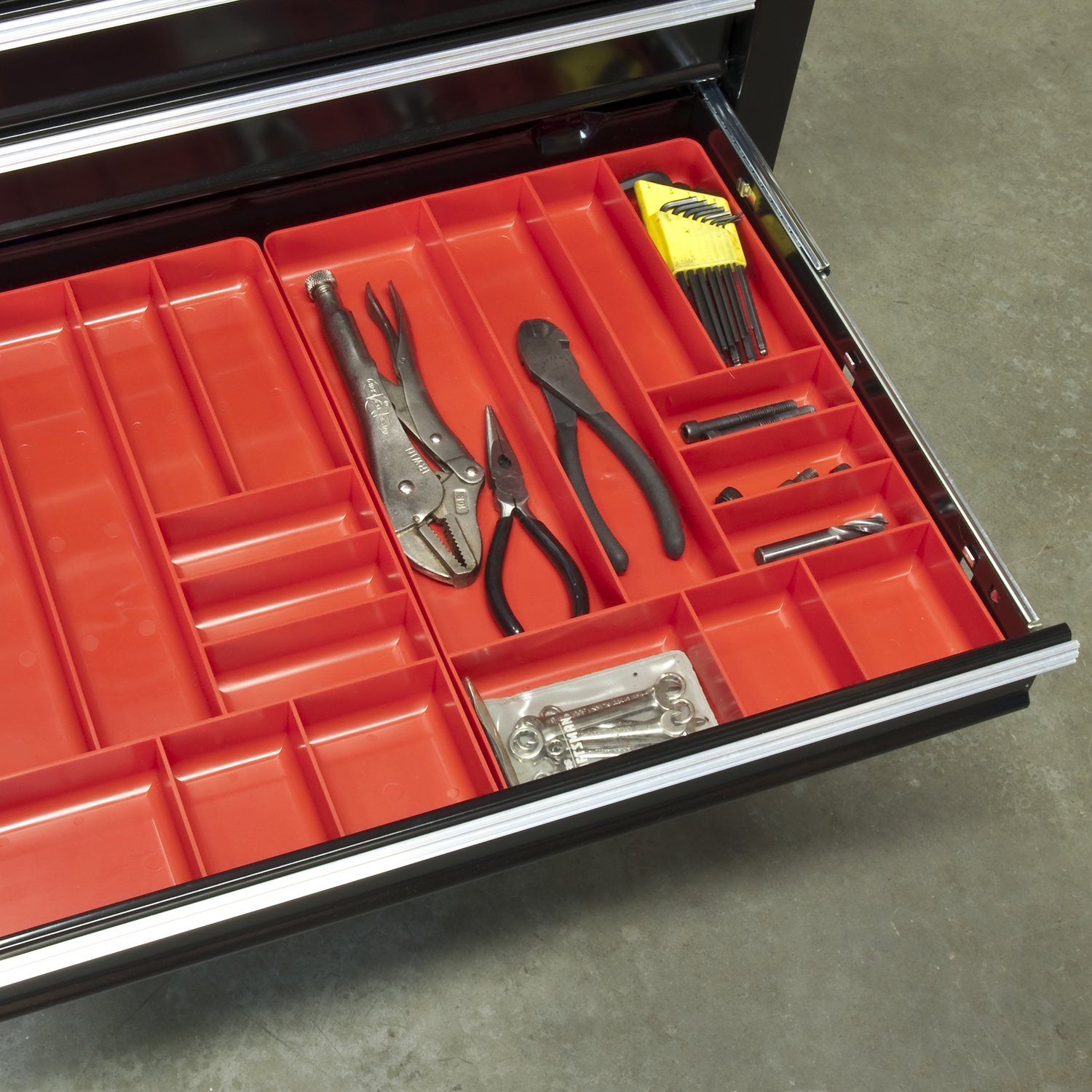 3-Compartments Ernst Manufacturing Organizer Tray Red