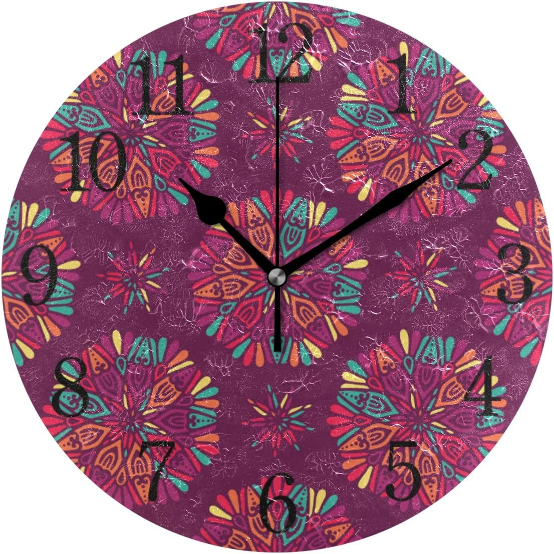 YYYJIA Indian Floral Medallion Vintage 9 Inch Round Acrylic Wall Clock Non Ticking Silent Clocks Art for Home Decor Living Room Kitchen Bedroom Office School