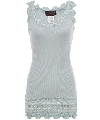 23ab38067f2587 Rosemunde Women's Silk Lace Trim Benita Tank Top S Blue at Amazon Women's  Clothing store: