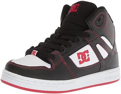 DC Boys  Pure HIGH-TOP Skate Shoe Black RED White 1 M 7ae167988876