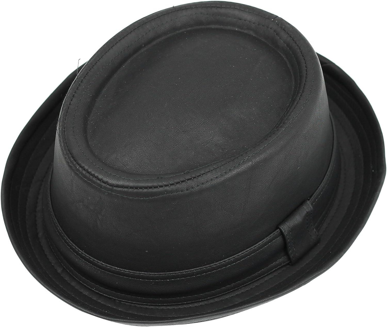 Vintage Unisex Pork Pie Trilby Hat Black Faux Leather Breaking Bad Heisenberg Style