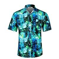 APTRO Men's Hawaiian Shirt Short Sleeve Summer Casual Beach Flower Shirt