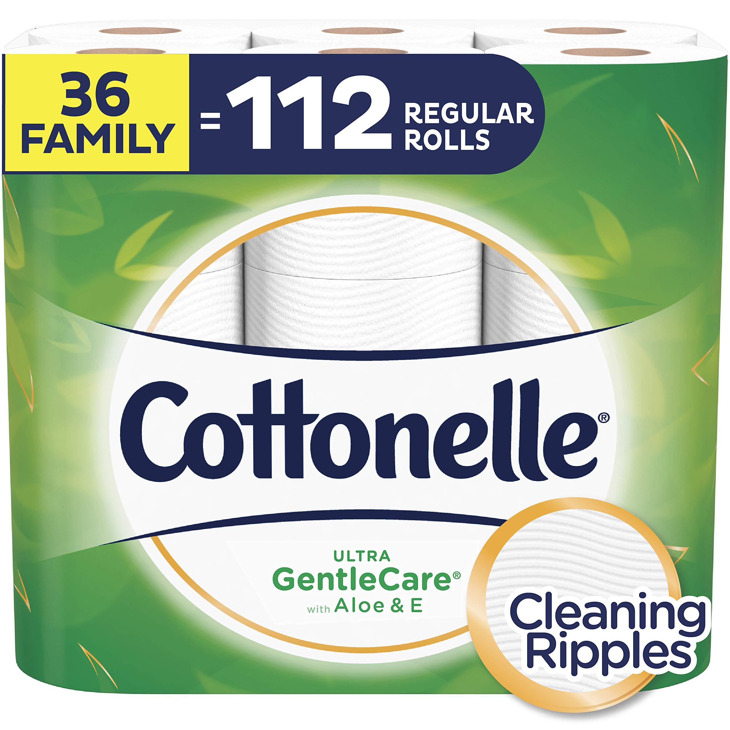 Cottonelle Ultra GentleCare Toilet Paper, Sensitive Bath Tissue, 36 Family Rolls+ by Cottonelle
