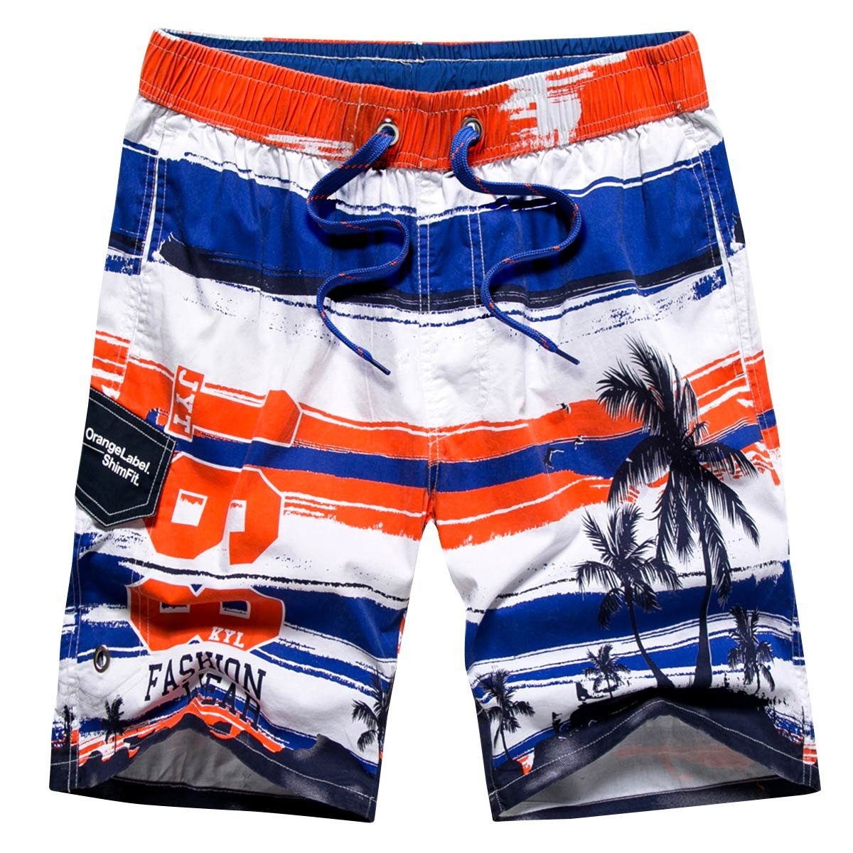 Tailor Pal Love Men's Cotton Surf Trunks Fashion Colorful Printing Sportwear Quick-Drying Breathable Beach Bathing Trunks Swimwear, Orange Size S