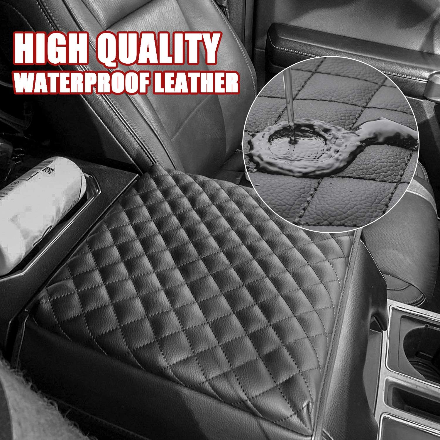Seven Sparta Console Armrest Cushion Compatible with Ford F150 SUVs 2015-2020 Leather Waterproof Console Cover Protector