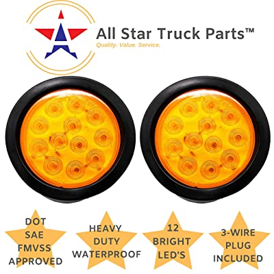 "[ALL STAR TRUCK PARTS] 4"" Inch Amber 12 LED Round Mid-Turn/Signal/Tail Trailer Truck Flatbed RV Camper Bus Light Kit with 3 wire Pigtail Plug & Grommet (Amber, 2): Automotive"