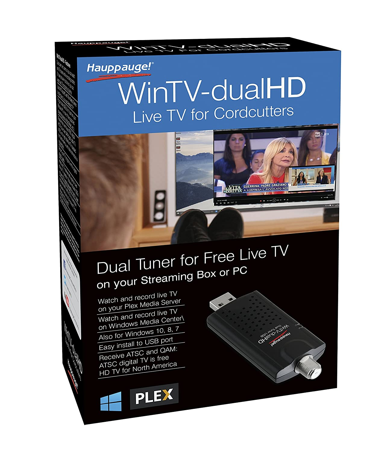 Hauppauge 1657 WinTV-dualHD Cordcutter Dual USB 2 0 TV Tuner for Nvidia  Shield and Windows PC