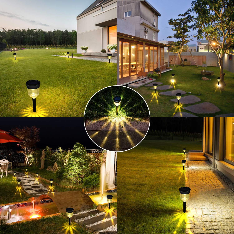 Bebrant Solar Pathway Lights Warm White Outdoor Solar Garden Lights Waterproof Landscape Decoration Auto On//Off Solar Lights for Driveway,Walkway,Patio,Yard 4-Pack