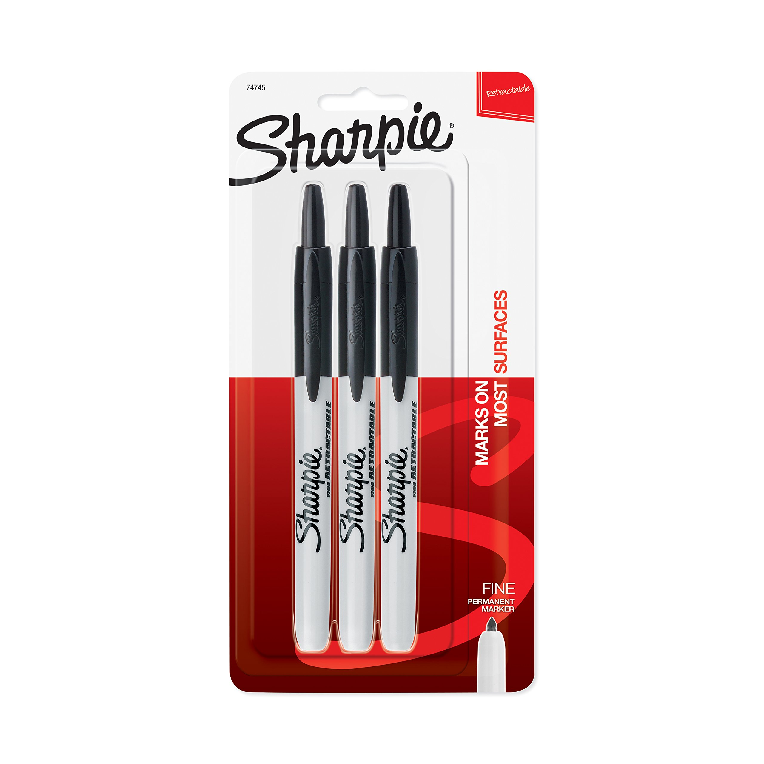 Sharpie Retractable Permanent Markers, Fine Point, Black, 3 Count