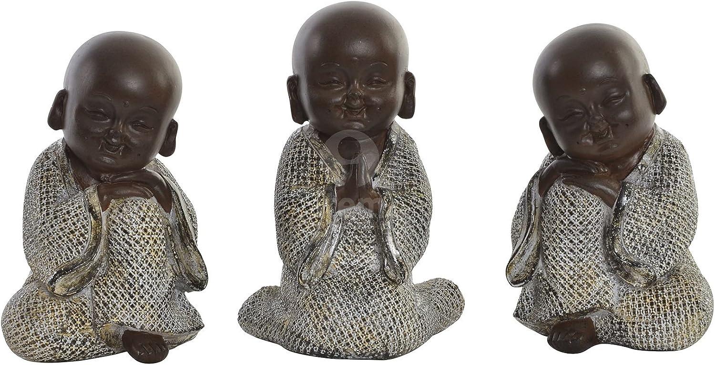Drw Set 3 Niños Buda Sabiduría Oir Ver Y Callar Resina Tonos Marrones 8 5x6x12 5 Cm Amazon Es Hogar