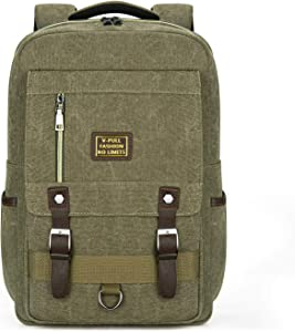 Canvas Laptop Backpack, Vintage Canvas Rucksack, Anti-Theft Backpack Fits 15.6 Inch Laptop (Green)