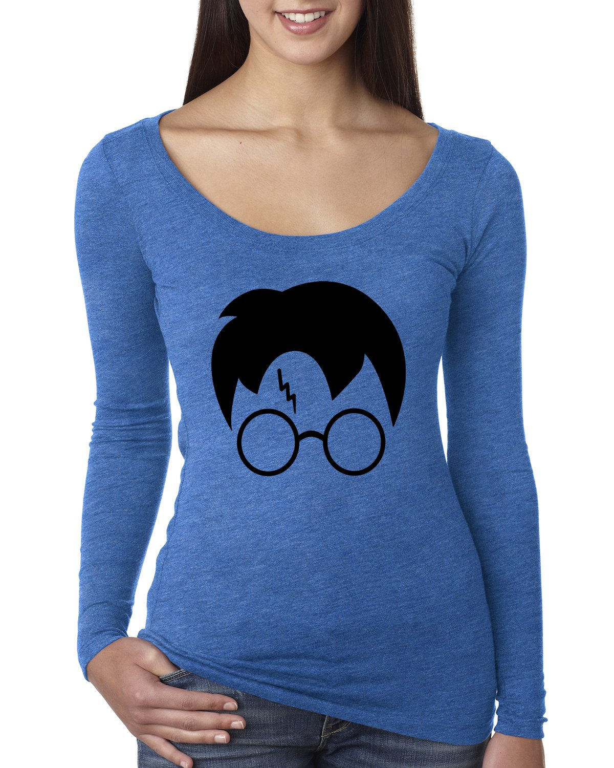 Harry Potter Glasses Lightning Bolt Scar Hair | Womens Pop Culture Scoop Long Sleeve Top Graphic Shirt, Vintage Royal Black, 2XL