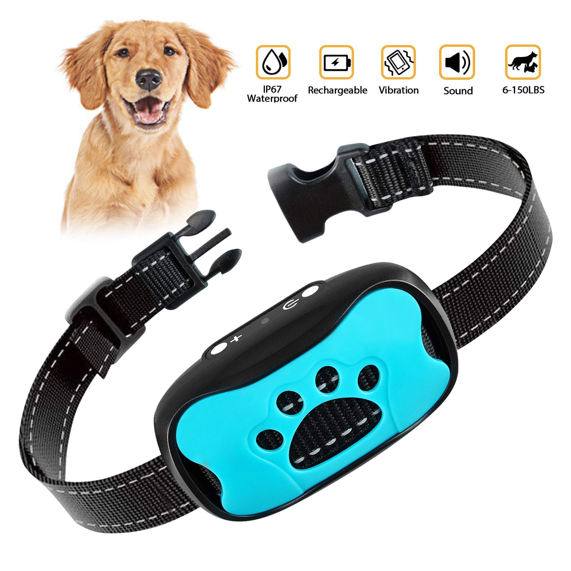 Dog Bark Collar- Automatic Anti Barking Training Collar with Beep and Vibration, No Painful Shock for Small Medium Large Dogs by FANZO