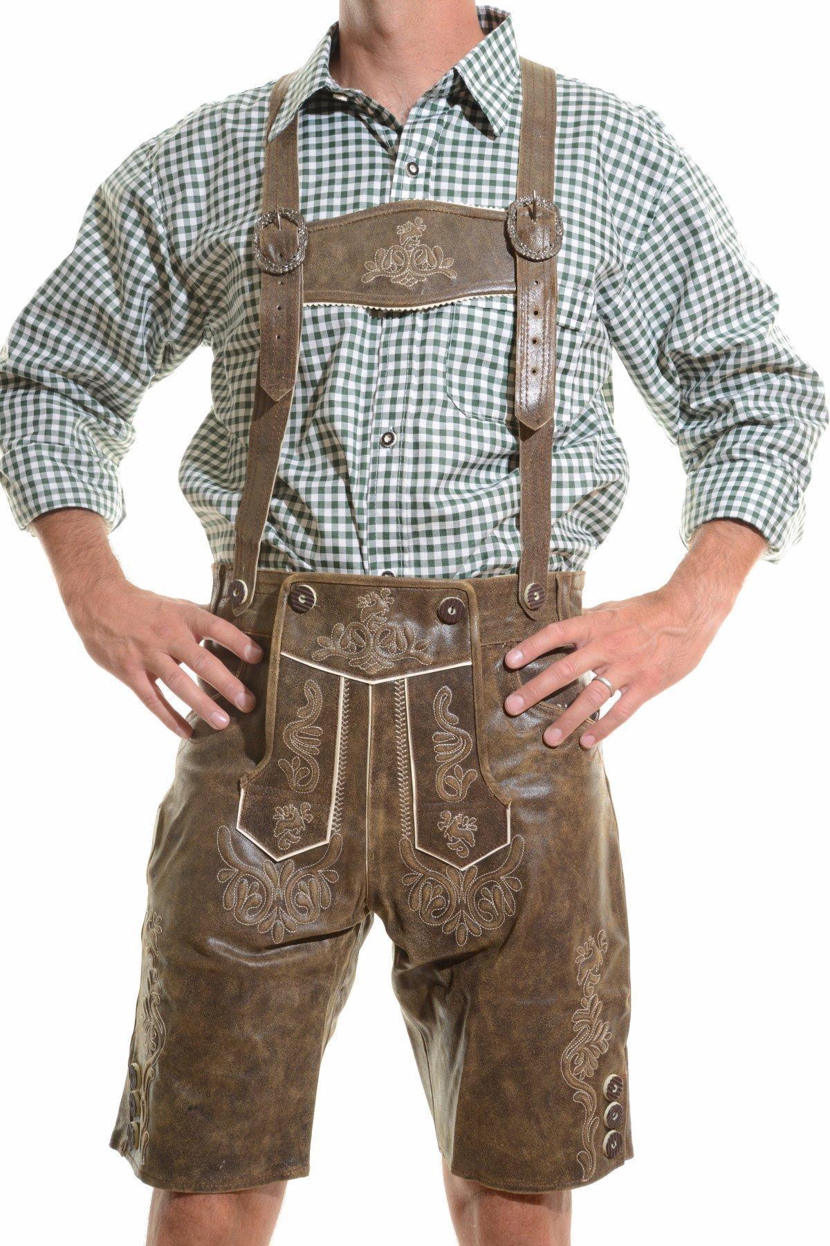 lederhosen4u Men's Bavarian Lederhosen Rustic CRACKER - Oktoberfest Leather Trousers, Antique Rustic Brown, 42